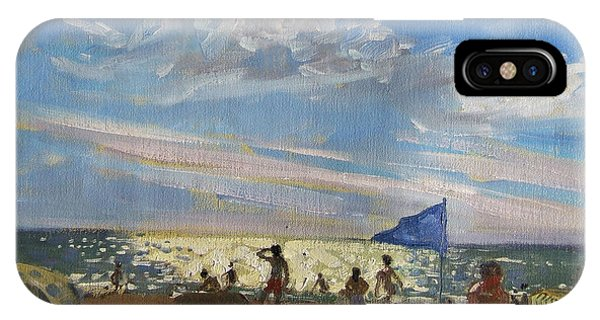 Sunbather iPhone Case - Blue Flag And Red Sun Shade by Andrew Macara