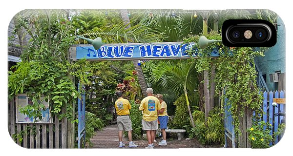 Tiki Bar iPhone Case - Blue Heaven Key West Florida Tropical Cafe Courtyard by John Stephens