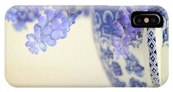 Blue Muscari Flowers In Blue And White China Cup IPhone Case
