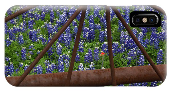 Bluebonnets And Rusted Iron Wheel IPhone Case