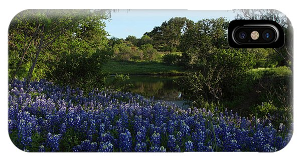 Bluebonnets At The Pond IPhone Case