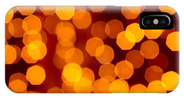 Orange Color iPhone Case - Blurred Christmas Lights by Carlos Caetano