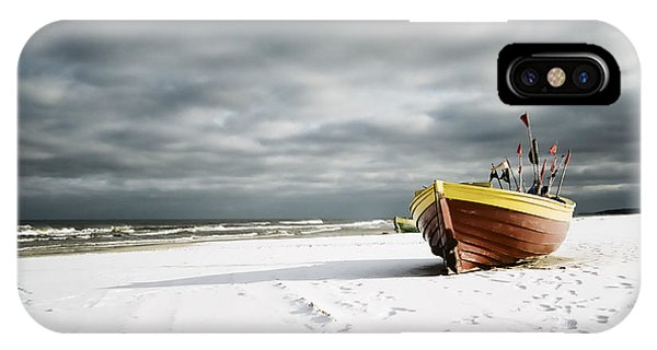Boat On Snowy Beach IPhone Case