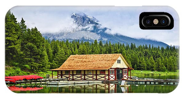 Boathouse On Mountain Lake IPhone Case