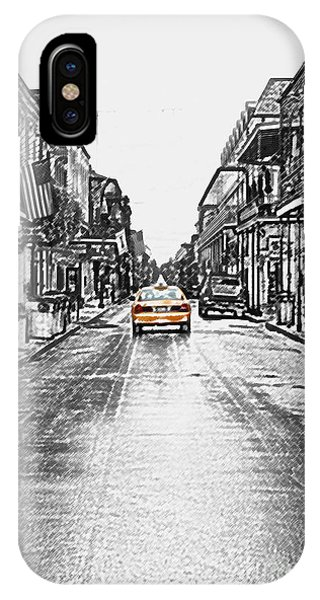 Bourbon St Taxi French Quarter New Orleans Color Splash Black And White Colored Pencil Digital Art IPhone Case