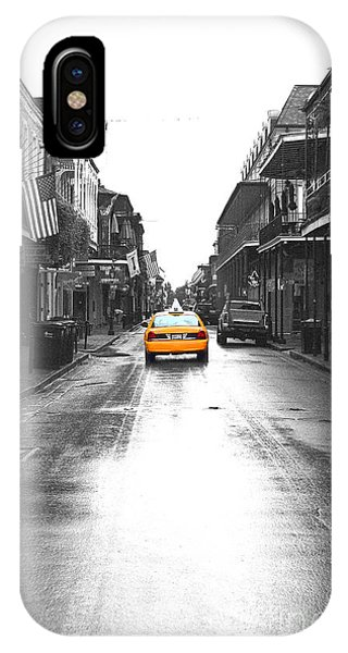 Bourbon Street Taxi French Quarter New Orleans Color Splash Black And White Film Grain Digital Art IPhone Case