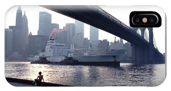 Boy Freighter Brooklyn Bridge Sunset IPhone Case