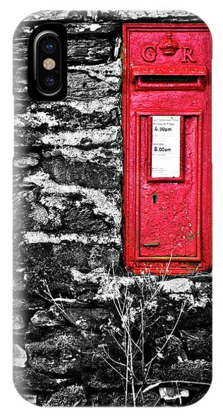 Stone Wall iPhone Case - British Red Post Box by Meirion Matthias