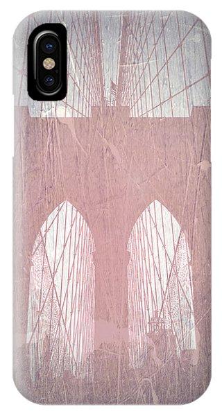 Old World iPhone Case - Brooklyn Bridge Red by Naxart Studio