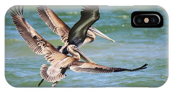 Brown Pelicans Taking Flight IPhone Case