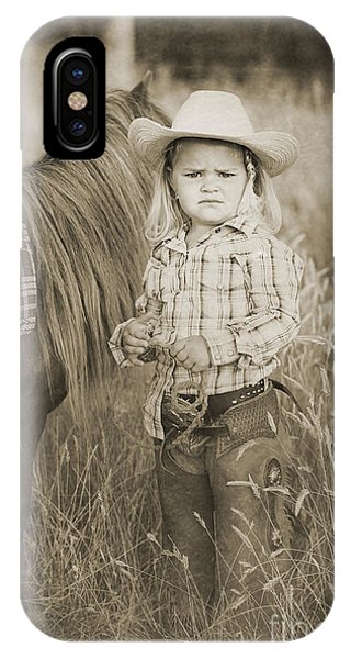 Buckaroo Cowgirl And Horse Phone Case by Cindy Singleton