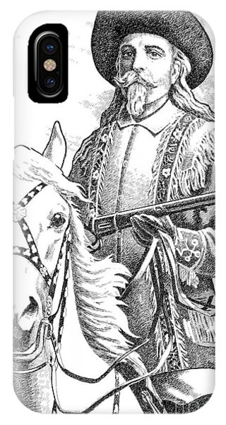 Pen And Ink Drawings For Sale iPhone Case - Buffalo-bill-cody by Gordon Punt