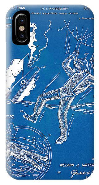Explosion iPhone X Case - Bulletproof Patent Artwork 1968 Figures 16 To 17 by Nikki Marie Smith