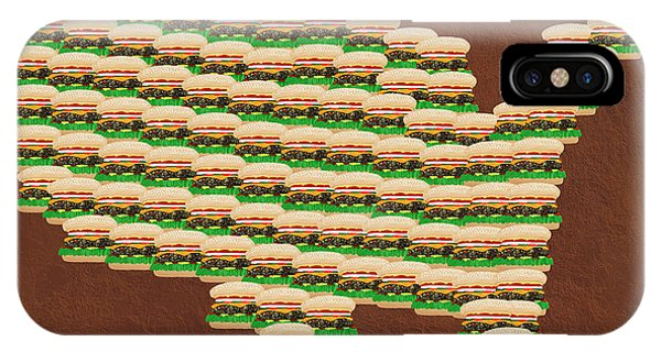 Mustard iPhone Case - Burger Town Usa Map Brown by Andee Design