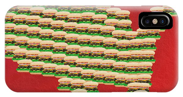 Mustard iPhone Case - Burger Town Usa Map Red by Andee Design