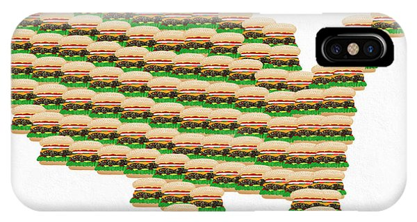 Mustard iPhone Case - Burger Town Usa Map White by Andee Design