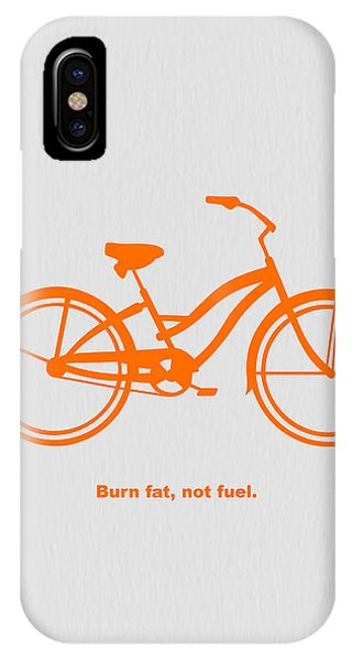 Bicycle iPhone X Case - Burn Fat Not Fuel by Naxart Studio