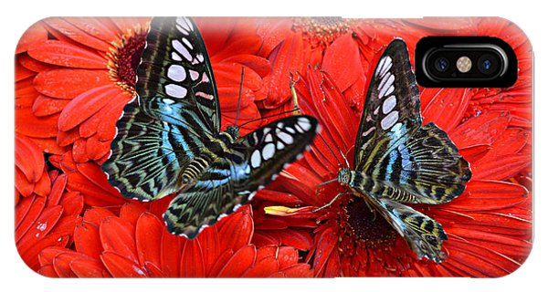 Butterflies On Red Flowers IPhone Case