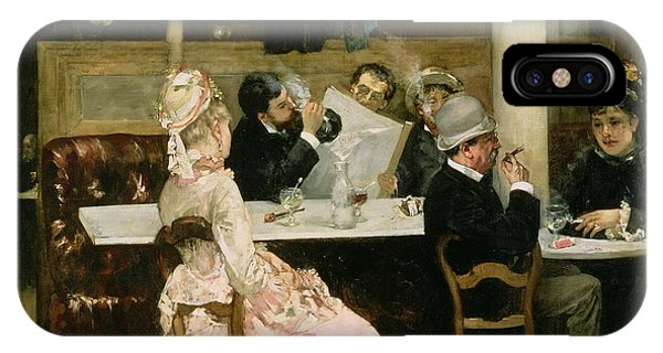 1877 iPhone Case - Cafe Scene In Paris by Henri Gervex