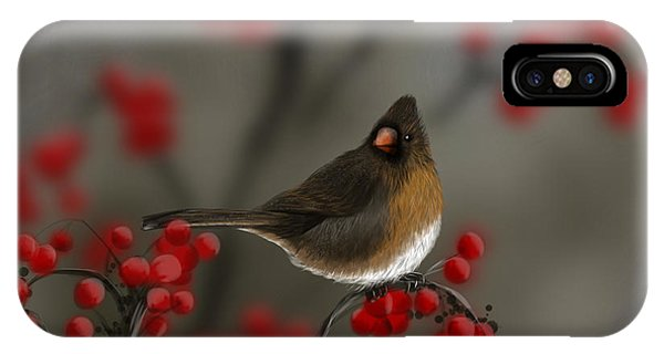 Cardinal Among The Berries IPhone Case
