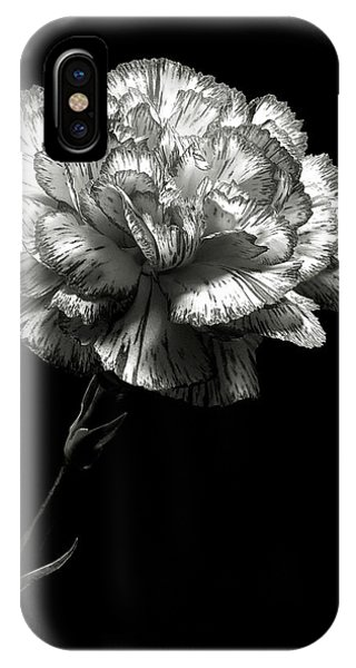 Carnation In Black And White IPhone Case