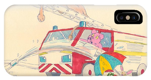 Cartoon Fire Engine And Animals IPhone Case