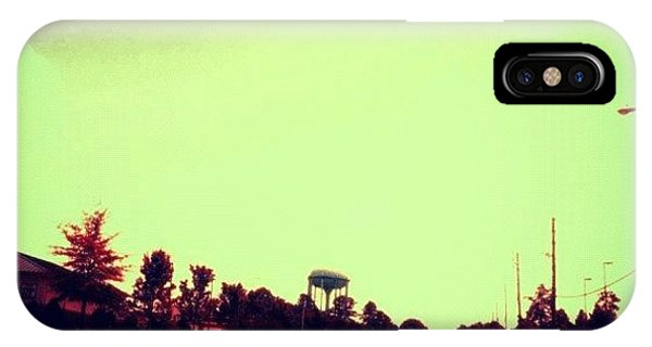 Edit iPhone Case - #cary #driving #sky #red #watertower by Katie Williams