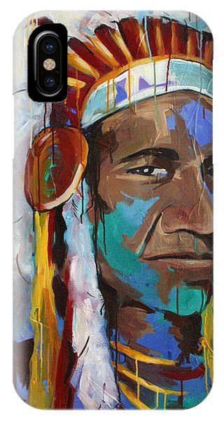 American Indian iPhone Case - Chiefing by Julia Pappas