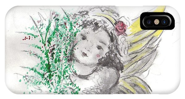 IPhone Case featuring the mixed media Christmas Angel by Laurie Lundquist