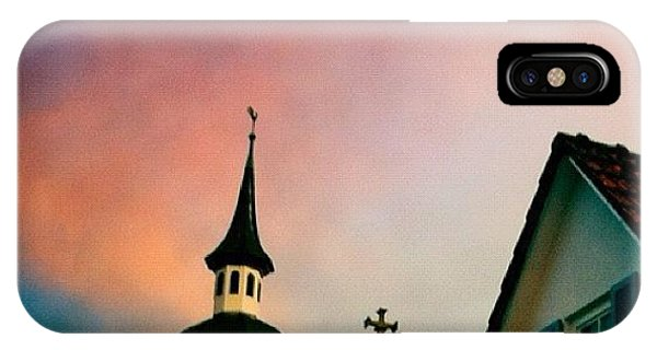 Beautiful Sunrise iPhone Case - Church And Red Sky At Sunset by Matthias Hauser
