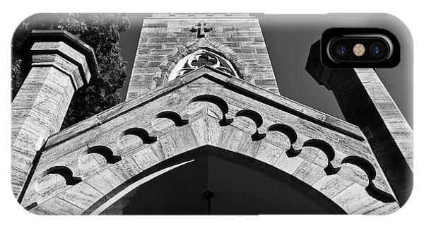 Church Facade In Black And White IPhone Case