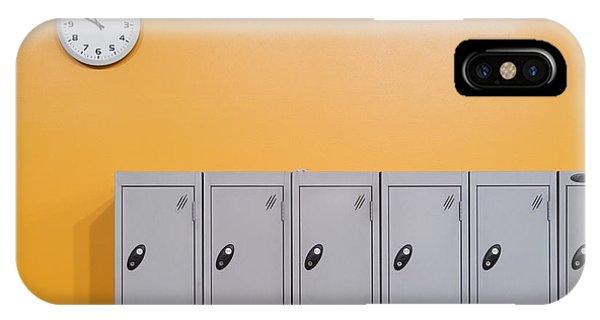 Orange iPhone Case - Clock On An Orange Wall Above Lockers by Iain  Sarjeant