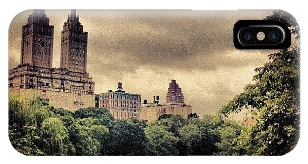 Newyork iPhone Case - Cloudy Central Park. #nyc #centralpark by Luke Kingma