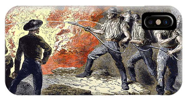 Coal Mine Fire, 19th Century Phone Case by Sheila Terry