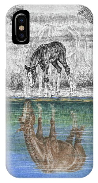 Contemplating Reality - Mare And Foal Horse Print IPhone Case