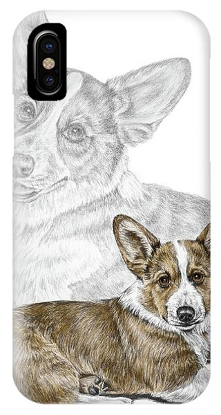 Corgi Dog Art Print Color Tinted IPhone Case