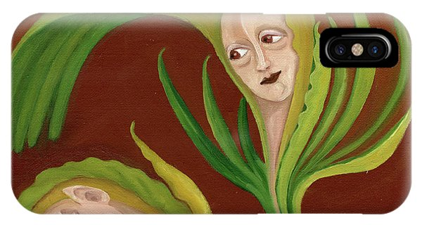 Corn Love Fantastic Realism Faces In Green Corn Leaves Sleeping Or Dead Loving Or Mourning Gree IPhone Case