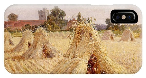 Plowing iPhone Case - Corn Stooks By Bray Church by Heywood Hardy