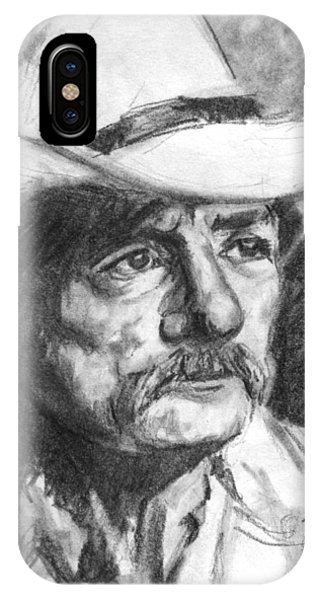 Cowboy In Hat Sketch IPhone Case