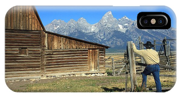 Cowboy With Grand Tetons Vista IPhone Case