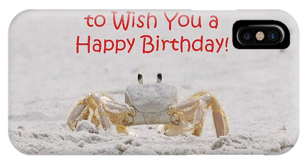 IPhone Case featuring the photograph Crab Happy Birthday by Judy Hall-Folde