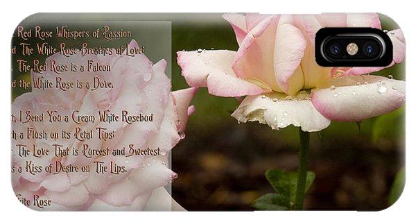 Cream White Rosebud With Poem IPhone Case