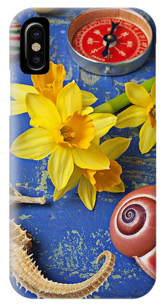 Daffodils And Seahorse IPhone Case