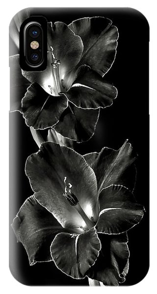 Dark Gladiolas In Black And White IPhone Case