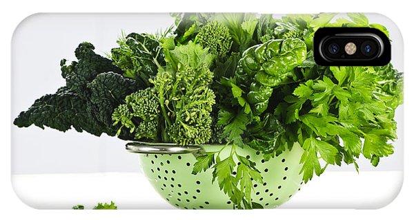 Broccoli iPhone Case - Dark Green Leafy Vegetables In Colander by Elena Elisseeva