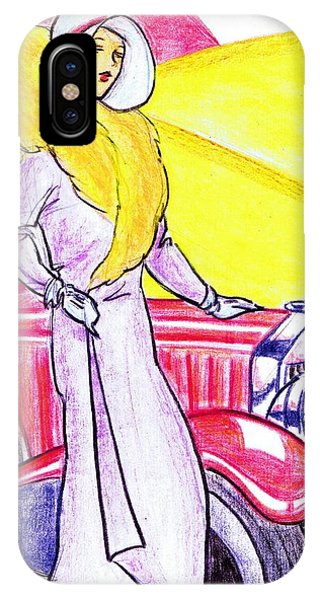 Lavender iPhone Case - Deco Lady With Auto by Mel Thompson