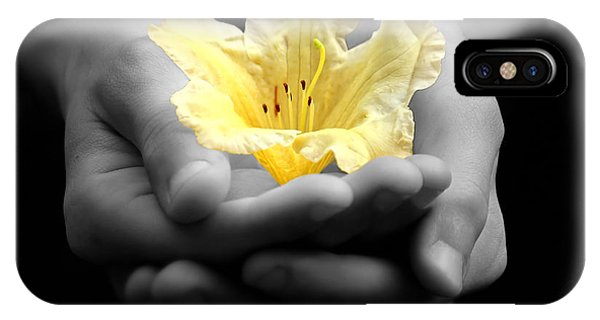 Delicate Yellow Flower In Hands IPhone Case