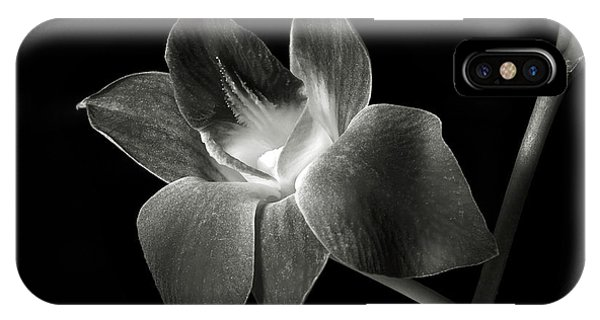 Dendrobium Orchid In Black And White IPhone Case