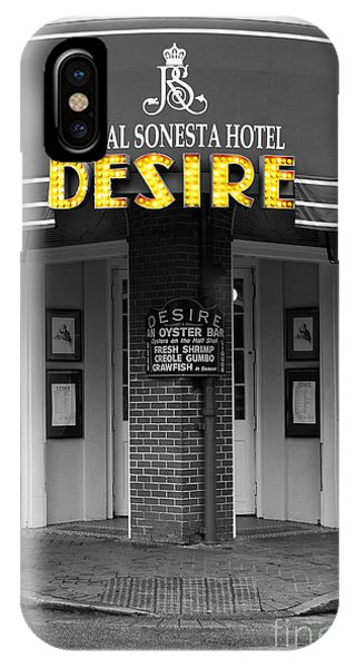 Desire Corner Bourbon Street French Quarter New Orleans Color Splash Black And White Digital Art  IPhone Case