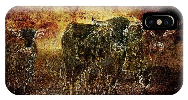 Devil's Herd - Texas Longhorn Cattle IPhone Case